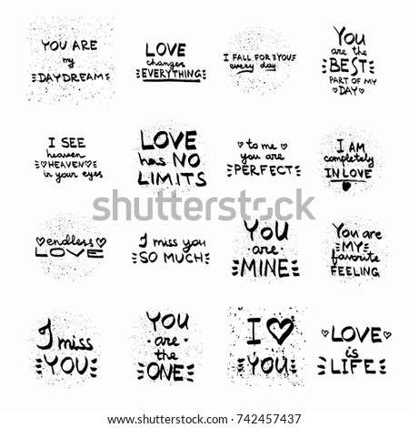 Love Quotes Set Vector Hand Written Stock Vector Royalty Free