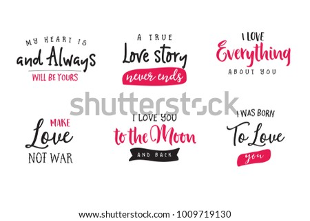 Love Quotes Valentines Day Love Phrases Stock Vector Royalty Free