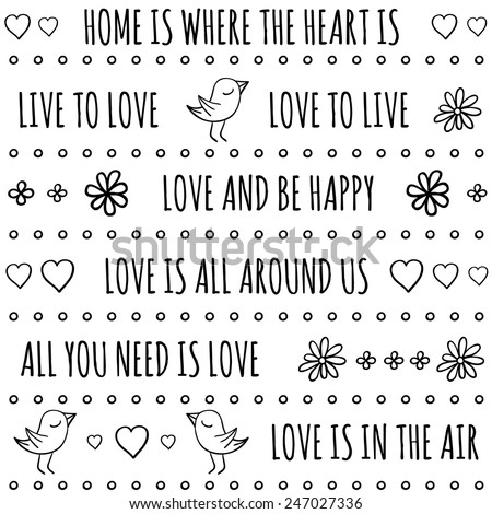 Love Quotes Vector Seamless Pattern Black Stock Vector Royalty Free Stunning Pattern Quotes