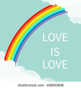 Love is love. Rainbow in the sky. Fluffy cloud in corners frame template. Cloudshape. Cloudy weather. LGBT sign symbol. Flat design. Blue background. Isolated Vector illustration