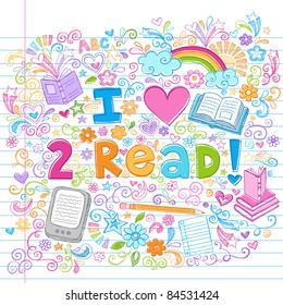 I Love to Read Books and E-Books Hand-Drawn Sketchy Notebook Doodles on Lined Sketchbook Paper Background- Doodle Design Elements Vector Illustration