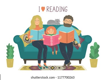 I love reading. Family reads books. Mother, father and daughter read books on sofa on white background. Original vector illustration.