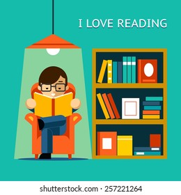 I Love Reading. Man sits in a chair and read your favorite book next to the bookcase. Vector illustration