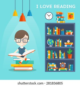 I Love Reading. Man sits on a stock of books and read your favorite book next to the bookcase. Vector flat illustration of education and school, study and literature