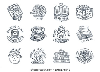 Love reading motivation quote phrases badge logo bubble on book vector illustration.