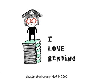 I love reading,a girl on top of a pile of books.Hand drawn vector illustration