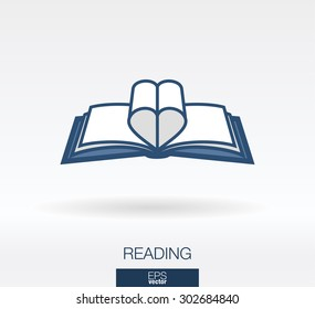Love readinng concept icon. Book and heart shape sheets symbols. Vector logo illustration