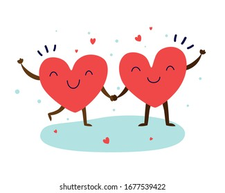 Love red heart couple for Invitation card, Valentine's Day. Couple in love concept feel happy and joyful. Hearts characters as symbols of love. Vector colorful illustration.