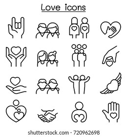 Love, Relationship, Friend, Family icon set in thin line style