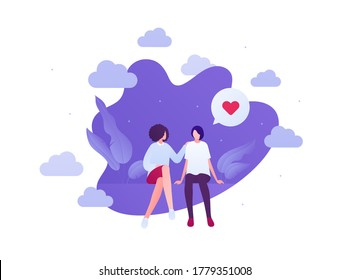 Love relationship and lgbt romantic date concept. Vector flat people illustration. Multiethnic characters. Lesbian female couple sitting. Heart shape sign. Design for banner, valentine day card.