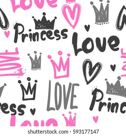 love repeated backdrop with original lettering, crown, hearts. princess wallpaper. cute girlish seamless pattern