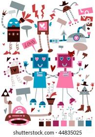 Love Robots Doodles - Vector