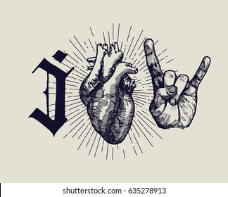 I love rock music - vintage poster with gothic letter and medieval heart etching and sign of horns hand gesture