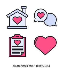 Love & Romance Icons Set (Filled Line) = Home Love, speech bubble, clipboard love, heart. Perfect for website, app icons, mobile app, presentation, illustration and any other projects.