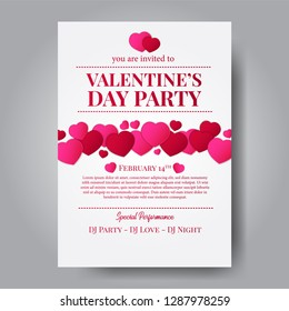 Love romance. Valentine's day party celebration poster template with hearth shape with white background. Vector illustration