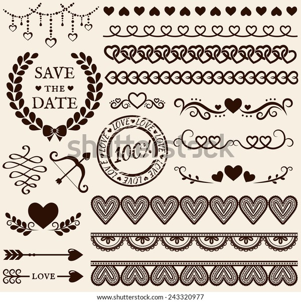 Love Romance Wedding Decorations Set Collection Stock Vector