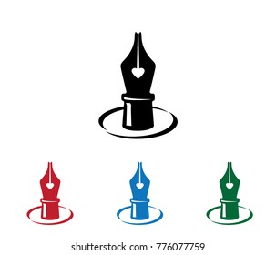 love romantic fountain pen quill vector logo design