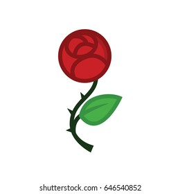 Love rose flat line icon - red flower for Valentine's day