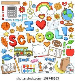 I Love School Classroom Supplies Notebook Doodles Hand-Drawn Illustration Design Elements on Lined Sketchbook Paper Background