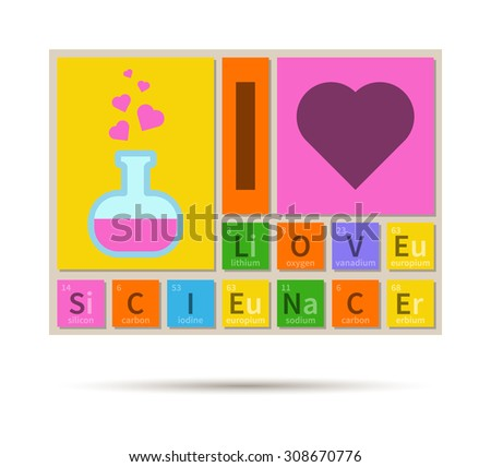 Love Science Chemistry Theme Banner Periodic Stock Vector Royalty