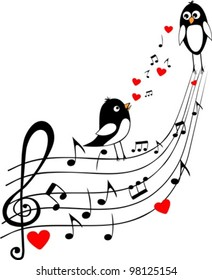 love score with two black birds, vector illustration, musical background
