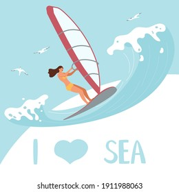 I love Sea square banner template People on summer vacation concept. A young woman Wind Surfer rides the Wave. Flat Art Vector Illustration