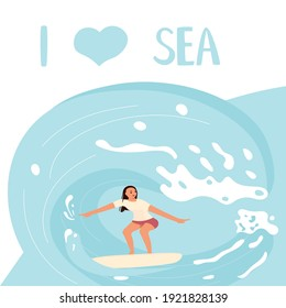 I love Sea square banner template People on summer vacation concept. A young woman Surfer rides the Wave. Flat Art Vector Illustration