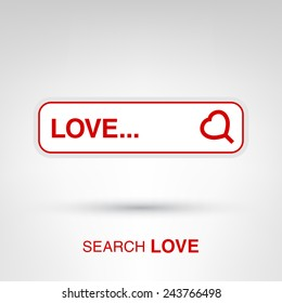 Love search - creative Valentines Day input form with heart-shaped magnifying glass concept vector illustration