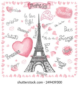 Фотообои Love set collection.Paris Eiffel tower,lettering,hearts.Hand drawn doodle sketchy,watercolor pink decor.French words ,hello,life is beautiful,Eiffel tower,love,i love you.Vintage Vector illustration