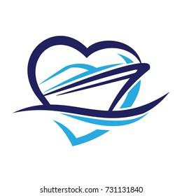 Love Ship travel logo Vector