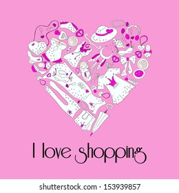 I love shopping, heart from stylish hand drawn composition of women related fashion items, shopping madness, vector use for banner, pink poster or background