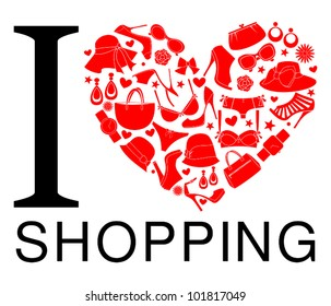 I love shopping icon. The heart is made from different female fashion items.