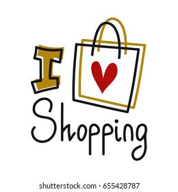 I love shopping, line lettering with paper shopping bag silhouette isolated on white background. Girl t-shirt print, sale banner, coupon/gift card design, beauty and fashion blog or site illustration.