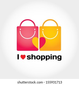 I love shopping vector sign with typography, two shopping bags and heart