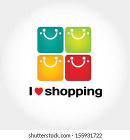 I love shopping vector sign with typography and four shopping bags like smiley face