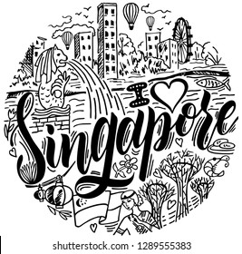 I love Singapore with famous landmarks in sketch style vector illustration. Culture and architecture of Singapore. Symbols of Singapore round design. Travel poster, postcard and advertising design.