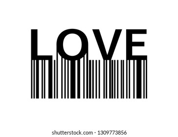 Love slogan with barcode. Print Love for your design. Banner or poster Love with barcode. Eps10
