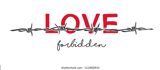 love slogan behind barbed wire illustration