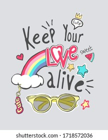 love slogan with cartoon sunglasses and colorful icons illustration