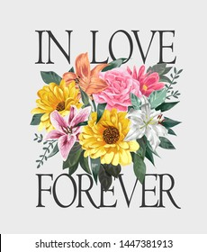 love slogan with colorful flowers illustration