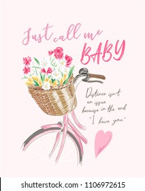 love slogan with flowers in the bicycle basket illustration