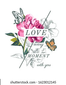 love slogan with flowers and butterflies illustration
