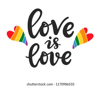 Love is love slogan. Gay, lesbian hand written lettering poster. LGBT rights concept. Pride rainbow spectrum flag, homosexuality, equality emblem. Parades event banner, typographic vector design.