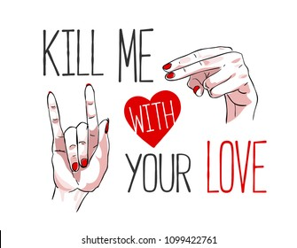 love slogan with hand sign illustration