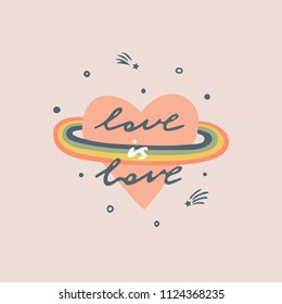 Love is love slogan. Heart with a rainbow. Typography graphic print, fashion drawing for t-shirts .Vector stickers,print, patches vintage