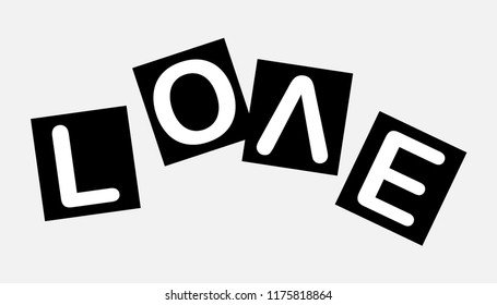 Love slogan on paper. Every letter in the scatter. Paper design