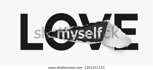 Love Slogan On Ripped Paper Stock Vector (Royalty Free) 1201251115