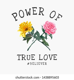 love slogan with rose and sunflower crosses illustration