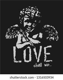 love slogan with stone baby angel illustration