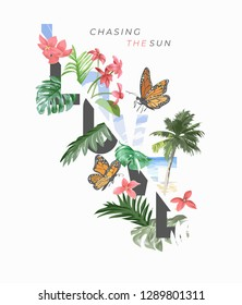 love slogan with tropical flowers and palm leafs illustration